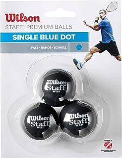 Wilson Unisex Adult 2-WRT618000 Staff Squash 3 Ball - Blue Dot, One Size