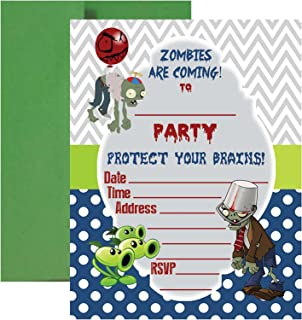 plants vs zombies birthday party invitations