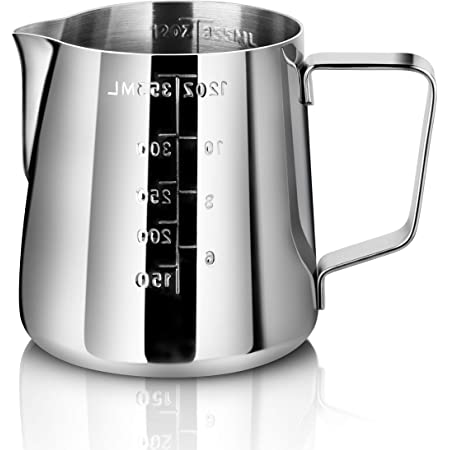 New Star Foodservice 28805 Commercial Grade Stainless Steel 18/8 Frothing Pitcher, 12-Ounce with Measurement Scale