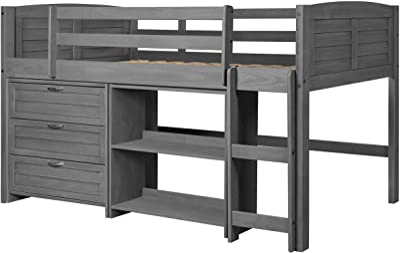 Donco Kids Louver Modular Low Loft Bed Combo C, Twin, Antique Grey