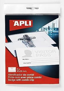 APLI 11745–Kit 20Porte-badges avec Pince + épingle (90x 56mm), 5unités