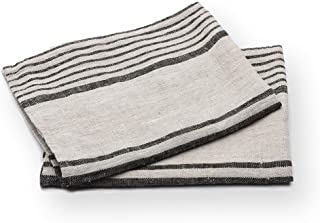 LinenMe Set of 2 Provence Linen Hand Towels, Standard, Black Natural Striped, Prewashed 100% Linen, Made in Europe, Produc...