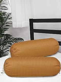 Clasiko Cotton Bolster Covers; Set of 2; 300 TC; Mustard