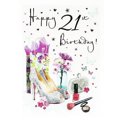 Happy 21st Birthday Card For Girls Milestone Hallmark Greeting Cute Girly Age