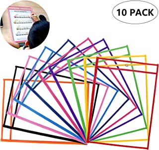 Colori Assortiti 10 Pezzi Riutilizzabile la Protezione Tasche Pulite Asiv Tasche per Cancellare a Secco Forniture di Cartoleria per Office School Casa e More