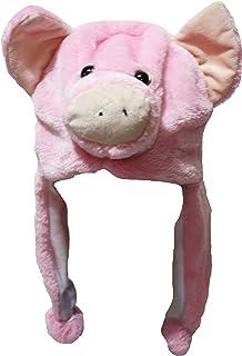 PINK WHITE PIG PIGLET ANIMAL CARTOON PLUSH FLUFFY HOODED HAT CAP BEANIE EARMUFF2