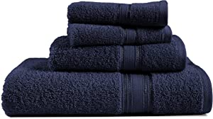 4 Piece Navy Bath Towels Set, 100% Combed Cotton Bathroom Towels 600 GSM, Highly Absorbent and Quick Dry Extra Large Bath Towels, Shower Towels (1 Bath Towel, 1 Hand Towel and 2 Washcloths) - Navy