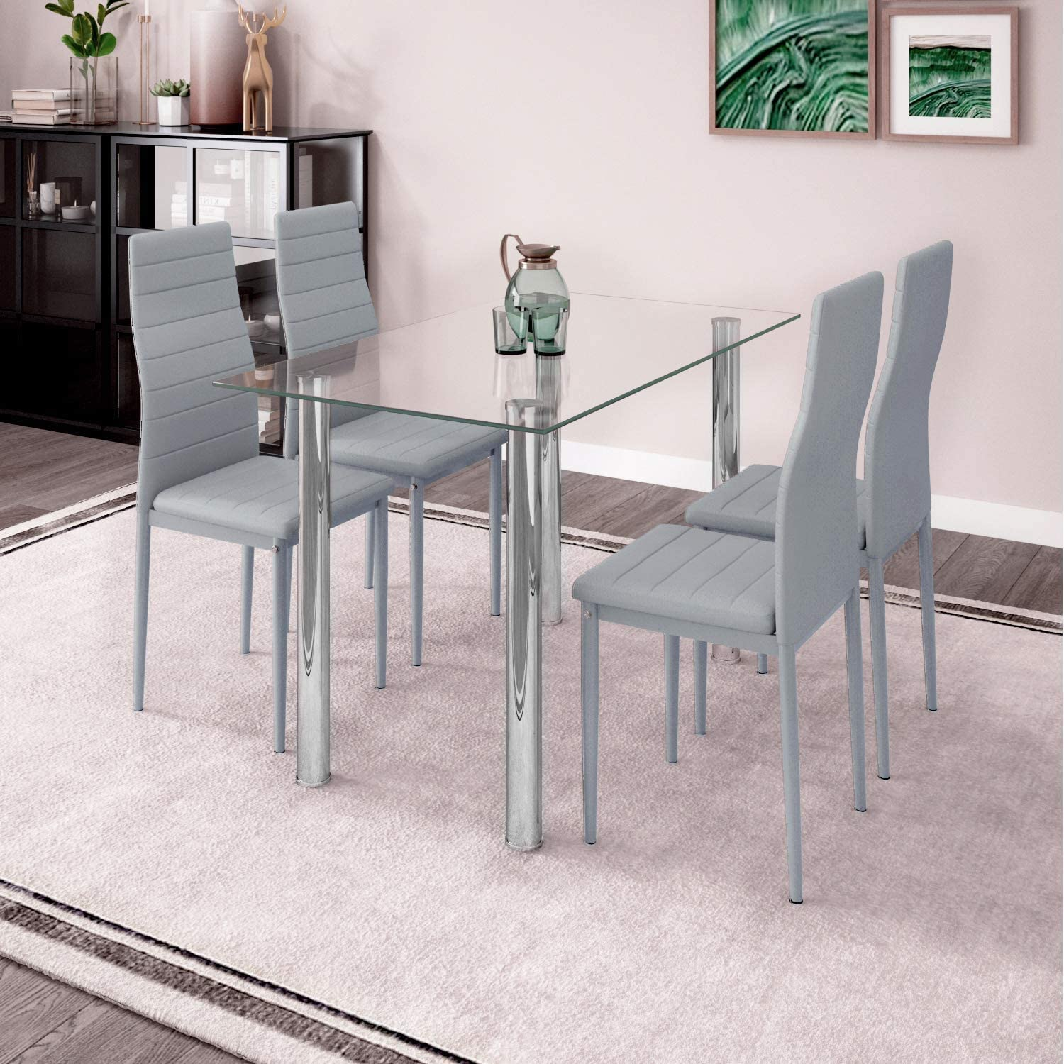 Modern Glass Dining Room Table and Chairs Set of 9 for Small Space, 9pcs  Kitchen Clear Glass Table Set with 9 Grey Leather Chairs for Dinette ...