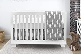 BEBELELO Baby Crib Bedding Set, 4 Pieces, Boys and Girls, Including: Fitted Sheet+ Crib Comforter+ Comforter Cover+ Skirt, Gray and White Feather Design
