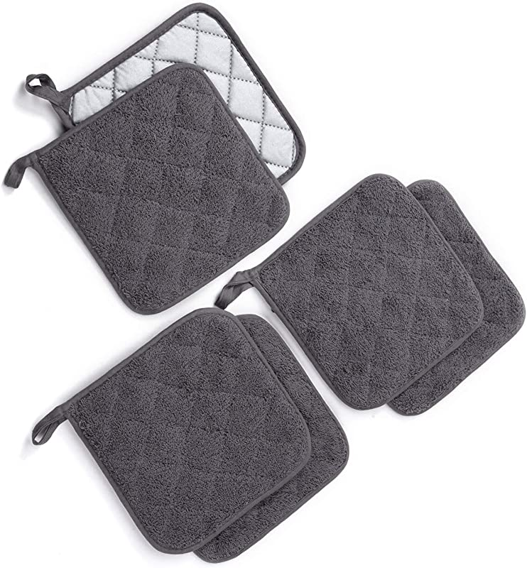 Jennice House Potholders Set Heat Resistant Hot Pads Mats Coasters Terry Cotton Pot Holders For Cooking And Baking Set Of 6 Gray