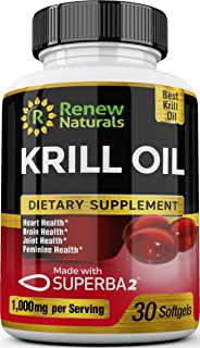 Antarctic Krill Oil 1000 mg Serving with Omega-3s EPA DHA Astaxanthin Supports Healthy Heart Brain Joints 30 Softgels 100% Money Back Guarantee!