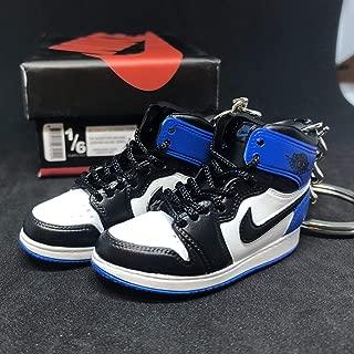 Pair Air Jordan I 1 Retro High Fragment Design Black Blue OG Sneakers Shoes 3D Keychain Figure + Shoe Box
