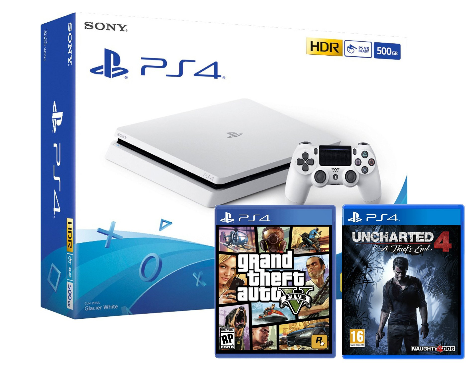 PS4 Slim 500 Go blanca Playstation 4 + Uncharted 4: A thief s End + GTA V Grand Theft Auto 5