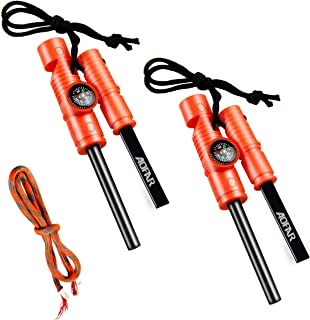 AOFAR 5-in-1 Fire Starter (2-Pack) Waterproof fire Steel Pouch for Camping, Hiking, Hunting, Backpacking,Outdoor Magnesium Survival Rod with Fire Paracord, Compass and Whistle