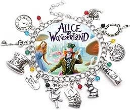 Alice in Wonderland 11 Themed Charms Silvertone Metal Charm Bracelet