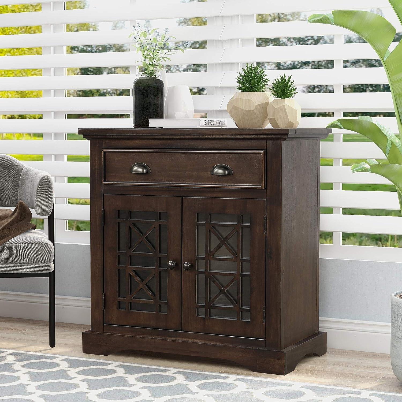 Goujxcy Retro Elegant Storage 公式ショップ Cabinet wih and Dra Doors 5☆大好評 Big Wood