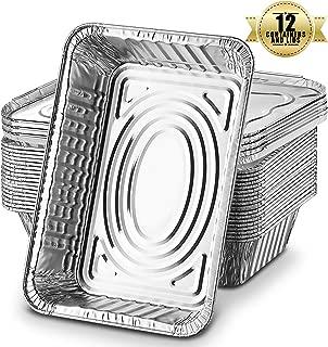 Bandejas De Papel Aluminio Desechables, Recipientes Para Llevar De Papel Aluminio De 1l Para Hornear, Cocinar, Congelar Y Almacenar, Bandejas Con Tapas Plateadas (Paquete De 12)