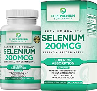 Premium Selenium Supplement by PurePremium (Gluten-Free and Vegan). 100 Once Daily Selenium 200mcg Caps. Immune System, Reproductive and Thyroid Health - Essential Trace Mineral - Superior Absorption.