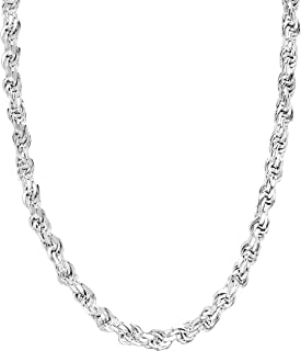 Sterling Silver 3.5mm - 5.5mm Rope Chain Necklace or Bracelet, 7.5