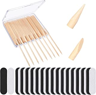 200 Pieces Nail Art Pedicure Tools, Include 100 Pieces Wooden Cuticle Sticks and 100 Pieces Mini Nail Files Disposable for...