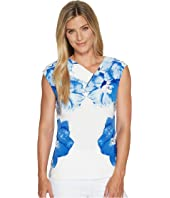 Calvin Klein - Sleeveless Printed V-Neck Blouse w/ Hardware