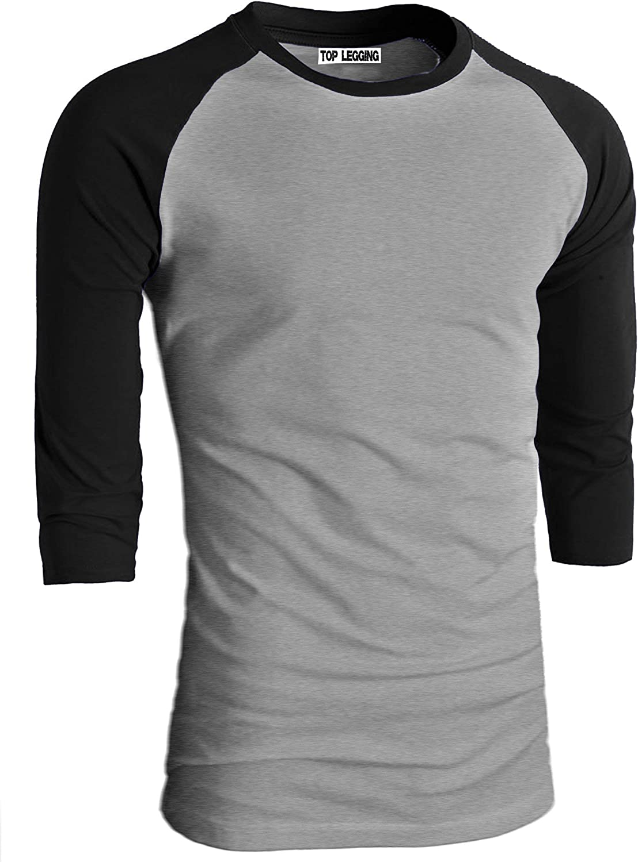 TOP LEGGING Mens Raglan 3//4 Sleeve Baseball T-Shirt-Cotton Slim Fit Jersey Junior Plus Size