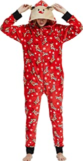 Family Matching Christmas Pajamas Set Onesies with Cute Reindeer Graphics Hooded