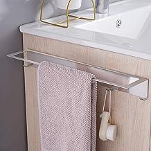 Aikzik Handdoekhouder zonder boren, roestvrij staal, wandmontage, handdoekstang met haken, badkamer en keuken, 40 cm