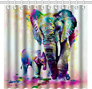 Wknoon 72 x 72 Inches Elephant Shower Curtain, Vintage Abstract Colorful Indian Elephants Family Oil Paintings Art, Waterproof Polyester Fabric Decorative Bath Curtains