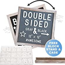 Rustic Wood Frame Gray Felt Letter Board 12x12 inches. Pre-Cut Letters. Additional Symbols & Emojis, Letter Storage Case, Farmhouse Block Stand
