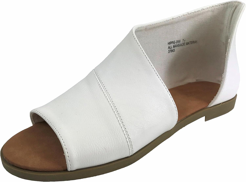 Bamboo Fashion Women's Faux Leather Asymmetrical Sandal Open Toe Half D'Orsay Flats Heel