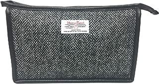 Harris Tweed Black and Grey Herringbone Cosmetic Toiletries Bag