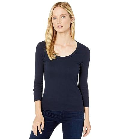 XCVI Essentials Speckle Long Sleeve 1x1 Rib Scoop Neck Tee (Aweigh Blue) Women