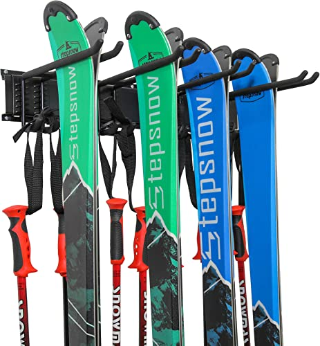 lowest Ski Wall Rack, Holds 2021 4 Pairs of Skis & Skiing Poles or Snowboard, for Home and Garage high quality Storage, Wall Mounted, Heavy Duty, Adjustable Rubber-Coated Hooks online sale