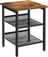 Mahmayi End Table, Nightstand with 2 Adjustable Mesh Shelves, Industrial Side Table for Living Room, Stable Metal Frame, E...