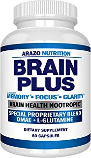 Premium Brain Function Supplement – Memory, Focus, Clarity – Nootropic Booster with DMAE, Bacopa Monnieri, L-Glutamine, Mu...