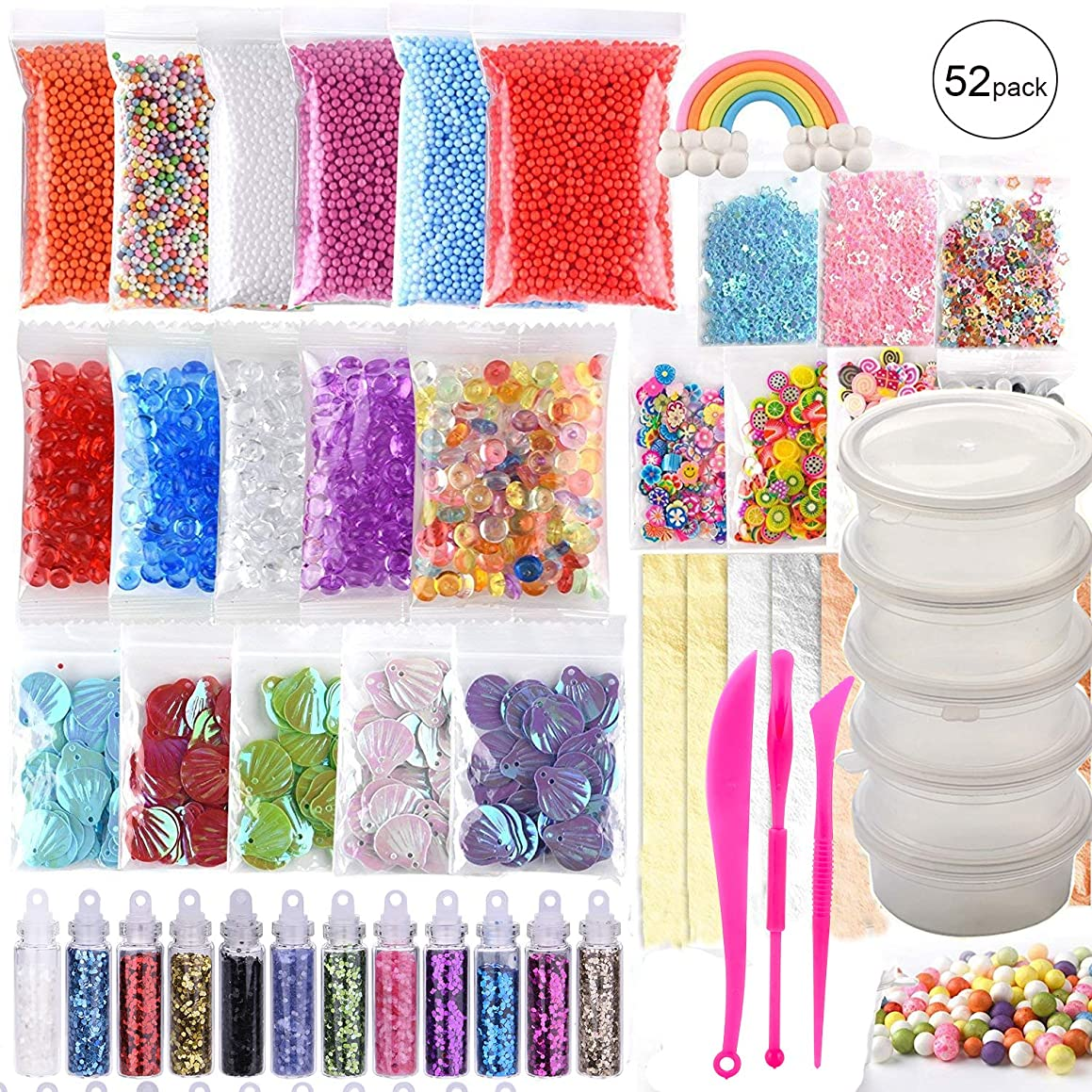 Slime Supplies Kit, 52 Pack Slime Stuff Charms, Include Glitter Shake, Foam Balls, Fishbowl Beads, Slices, Shell, Sequin, Google Eyes and Imitation Gold Leaf for Girls and Boys (Not Contain Slime)