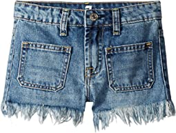High-Waisted Stretch Denim Shorts in Vintage Muse (Big Kids)