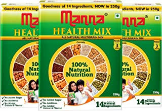 Manna Millet Health Mix 750g ( 250g X 3 Packs) | Sathu Maavu for Babies | 100% Natural Millet Multigrain Nutrition Drink f...