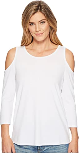 Jersey Knit 3/4 Sleeve Cold Shoulder Top with Back Button Detail