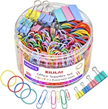 240 Pcs Binder Clips, Paper Clips, Rubber Bands, Paper Clamps - Muticolor Office Clips Set - 3 Sizes Binder Clips, 2 Sizes...