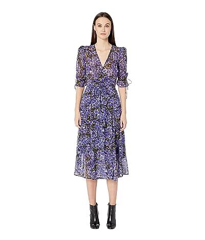 The Kooples Hydrangea Print Dress (Black/Purple) Women