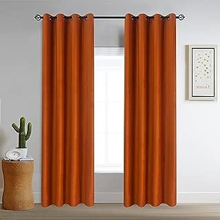 Roslyn home Luxe Velvet Curtains Room Darkening Drapes Grommet Curtain Panel Pair Orange 52Wx84L(2 Panels) Custom Drapery