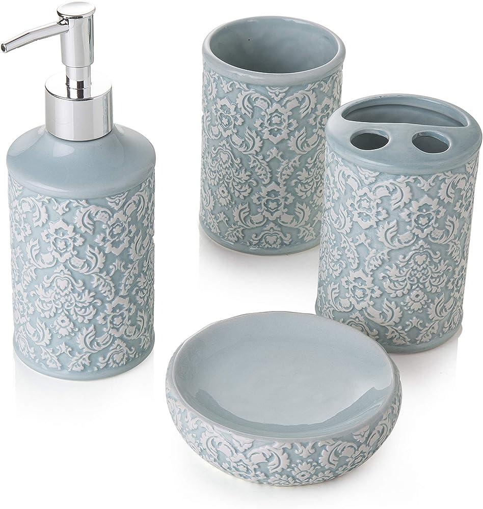 Montemaggi , set 4 pezzi in ceramica per il  bagno, include dispenser, portaspazzolino, bicchiere e portasapon