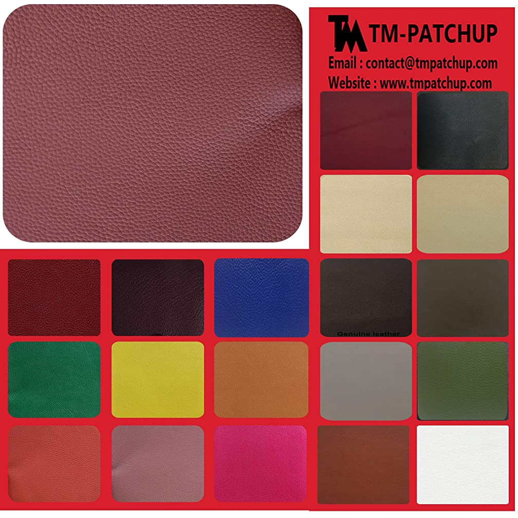 TMpatchup Genuine Leather and Vinyl Repair Patches Kit - Grain Self Adhesive Leather to Repair Furniture, Couch, Sofa, Jacket - Multiple Colors and Sizes Available (Brown Pink, 4'' x 8'')