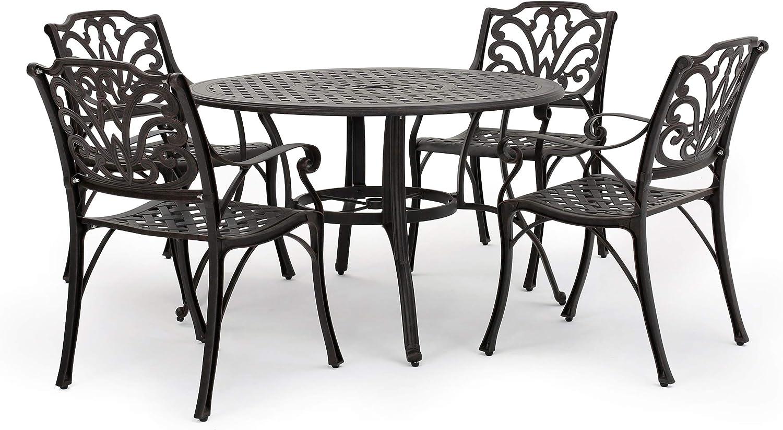 Christopher Knight Home Alfresco Outdoor Cast Aluminum Circular Dining Set, 5-Pcs Set, Bronze