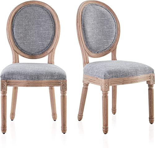 wholesale BELLEZE Set of high quality (2) Classic Elegant online Traditional Upholstered Linen Round Back Dining Chairs w/Solid Wood Legs, Grey outlet online sale