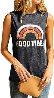 Women's Good Vibes Tank Tops Rainbow Casual Summer Sleeveless Blouse Shirt Loose Fit