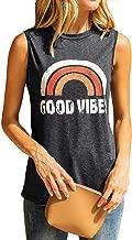 OUNAR Women's Good Vibes Tank Tops Rainbow Casual Summer Sleeveless Blouse Shirt Loose Fit