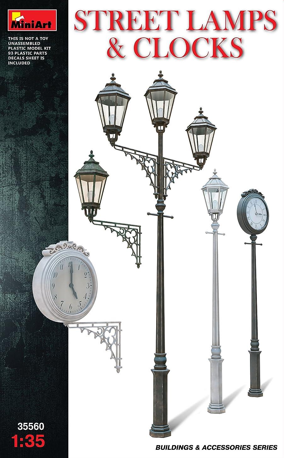 1:35 Miniart Street Lamps & Clocks Set Model Kit